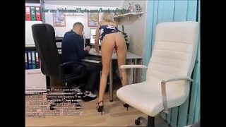 horny secretary thot fingering her pussy in the office behind her boss