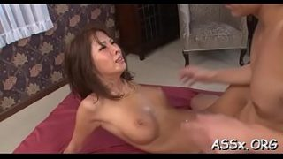 Asian chick charms several cocks with simultaneous oral job